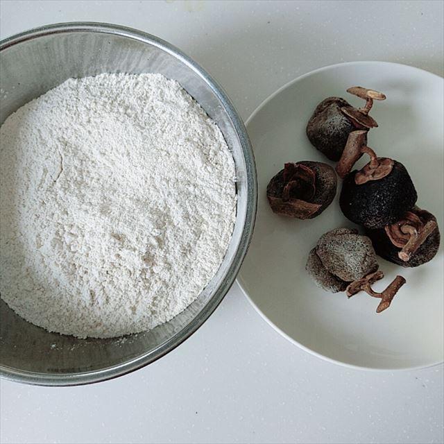 干し柿と粉